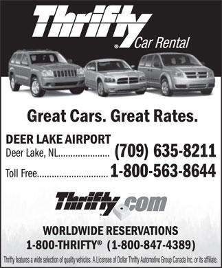 Deer Lake Car Rental Thrifty