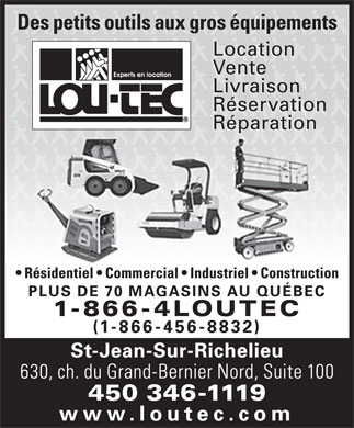 Lou-Tec (450-346-1119) - Display Ad