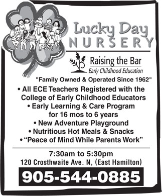 Lucky Day Nursery (905-544-0885) - Display Ad