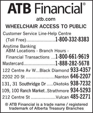 ATB Financial (1-800-332-8383) - Annonce illustrée - Mastercard........................ 131, 31 Southridge Dr 109, 100 Ranch Market ATB Financial is a trade name / registered trademark of Alberta Treasury Branches