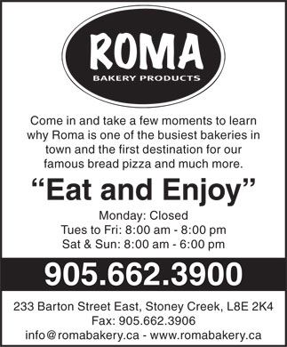Roma Bakery (905-662-3900) - Display Ad
