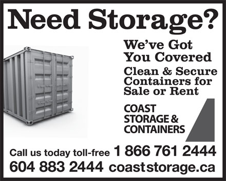 Coast Storage & Containers (604-883-2444) - Display Ad