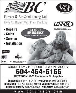 BC Furnace & Air Conditioning (604-464-6166) - Annonce illustrée