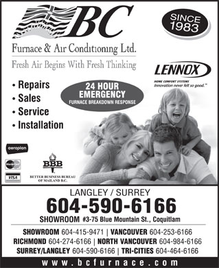 BC Furnace & Air Conditioning (604-590-6166) - Display Ad