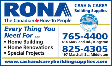 RONA Cash & Carry Building Supplies Ltd (902-765-4400) - Annonce illustrée