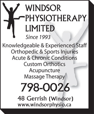 Windsor Physiotherapy Limited (902-798-0026) - Annonce illustrée