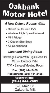 Oakbank Motor Hotel (1-888-364-3236) - Display Ad