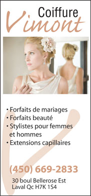 Coiffure Vimont Inc (450-669-2833) - Annonce illustr&eacute;e