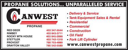Canwest Propane (403-347-5544) - Annonce illustr&eacute;e