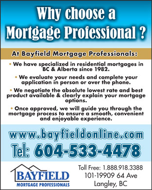 Bayfield Mortgage Professionals Ltd (604-533-4478) - Annonce illustrée