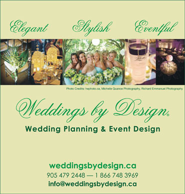 Weddings By Design Consultants (905-479-2448) - Display Ad