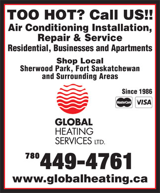 Global Heating Services Ltd (780-449-4761) - Annonce illustrée