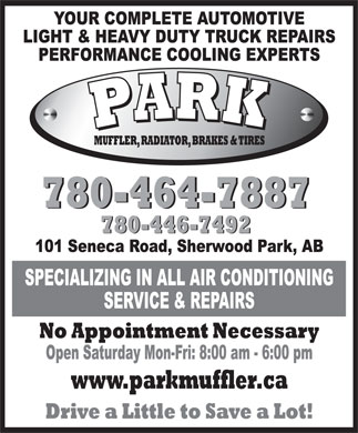 Park Muffler Radiator Brakes & Tires (780-464-7887) - Display Ad