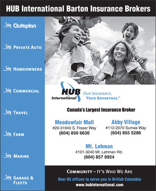 HUB International Barton Insurance Brokers (604-855-5286) - Display Ad