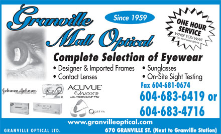 Granville Mall Optical (604-696-8833) - Display Ad