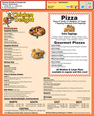 Chicken Delight Of Canada Ltd (204-885-7570) - Menu