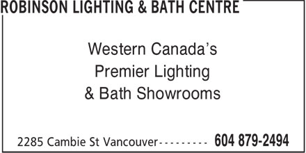 Robinson Lighting & Bath Centre (604-879-2494) - Annonce illustrée - Western Canada's Premier Lighting & Bath Showrooms