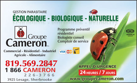 Cameron Extermination Inc (819-569-2847) - Display Ad