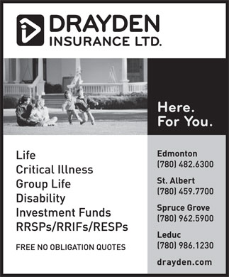 Drayden Insurance Ltd (780-482-6300) - Display Ad