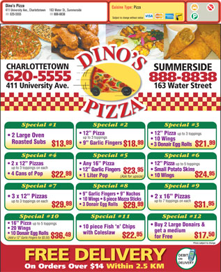 Dino's Pizza (1-877-768-2055) - Menu