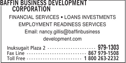 Baffin Business Development Corporation (867-979-1303) - Annonce illustrée