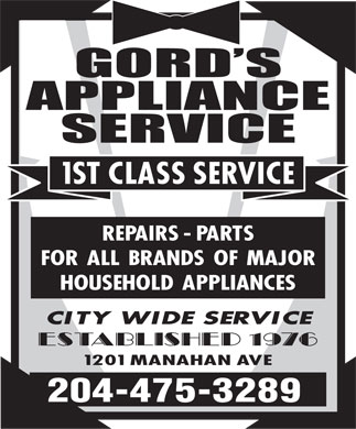 Gord's Appliance Service (204-475-3289) - Display Ad
