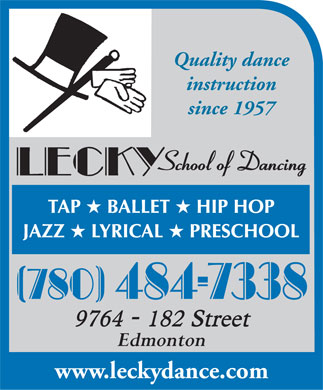 Lecky School Of Dance (780-484-7338) - Display Ad - Quality dance instruction since 1957 Edmonton www.leckydance.com  Quality dance instruction since 1957 Edmonton www.leckydance.com