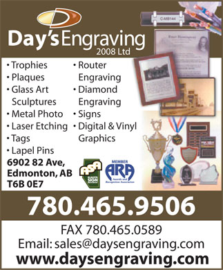 Day's Engraving (2008) Ltd (780-401-9823) - Display Ad