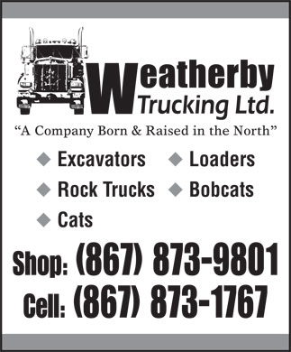 Weatherby Trucking Ltd (867-873-1767) - Display Ad