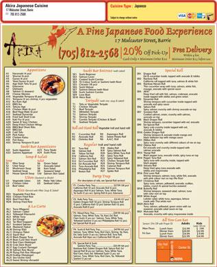 Akira japanese cuisine 17 mulcaster st barrie on for Akira japanese cuisine