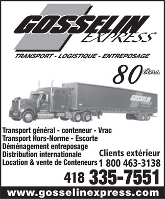 Transport Gosselin Express Lt&eacute;e (418-335-7551) - Annonce illustr&eacute;e