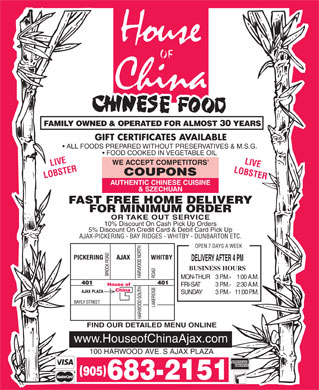 House Of China (905-683-2151) - Annonce illustr&eacute;e