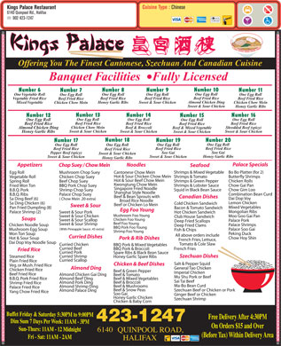 Kings Palace Restaurant (902-423-1247) - Menu