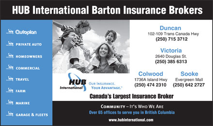 HUB International Barton Insurance Brokers (250-715-3712) - Annonce illustrée