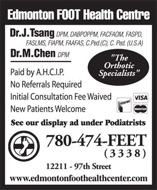 Edmonton Foot Health Centre (780-474-3338) - Display Ad