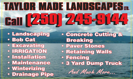 Taylor Made Landscaping Ltd (250-245-9144) - Annonce illustrée