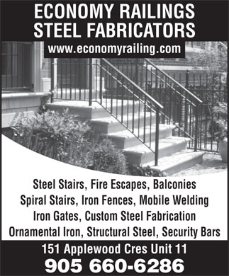 Economy Railings Steel Fabricators (905-660-6286) - Display Ad