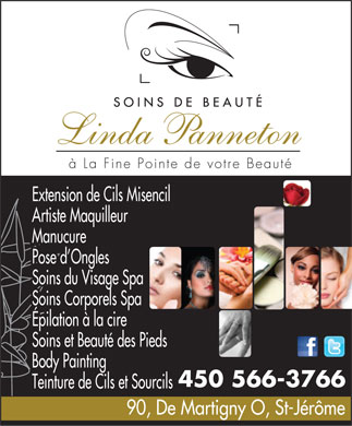 Soins de Beaut&eacute; Linda Panneton (450-566-3766) - Annonce illustr&eacute;e