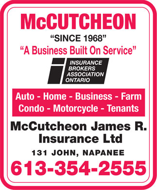 McCutcheon James R Insurance Ltd (613-354-2555) - Display Ad