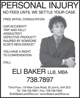 Baker Eli Law Offices (709-738-7897) - Display Ad