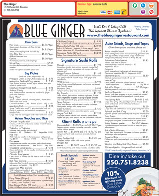 Blue Ginger (250-751-8238) - Menu