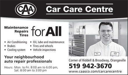CAA Car Care Centre (519-942-3670) - Display Ad