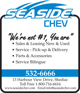 Seaside Chevrolet Ltd. (506-532-6666) - Annonce illustrée