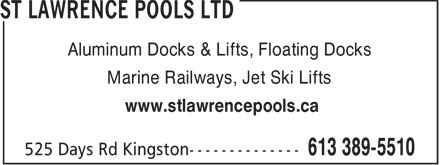 St Lawrence Pools (613-389-5510) - Annonce illustrée - Aluminum Docks & Lifts, Floating Docks Marine Railways, Jet Ski Lifts www.stlawrencepools.ca