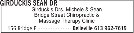 Girduckis Sean Dr (613-707-2127) - Display Ad - Girduckis Drs. Michele & Sean Bridge Street Chiropractic & Massage Therapy Clinic  Girduckis Drs. Michele & Sean Bridge Street Chiropractic & Massage Therapy Clinic