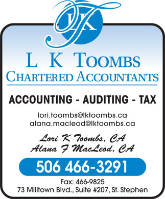 L K Toombs Chartered Accountants (506-466-3291) - Annonce illustrée