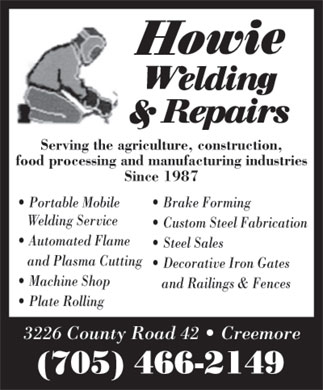 Howie Welding & Repairs (705-466-2149) - Display Ad