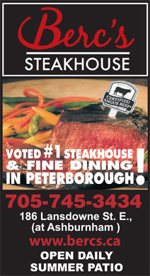 Berc's Steak House (705-745-3434) - Annonce illustrée - #1 VOTED STEAKHOUSE IN PETERBOROUGH ! 705-745-3434 www.bercs.ca