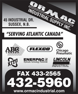 Ormac Industrial Supply Inc (506-432-5960) - Display Ad