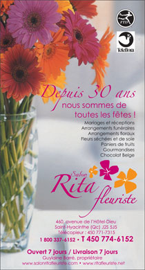 Salon Rita Fleuriste Inc (450-774-6152) - Annonce illustr&eacute;e - www.salonritafleuriste.com   www.ritafleuriste.net